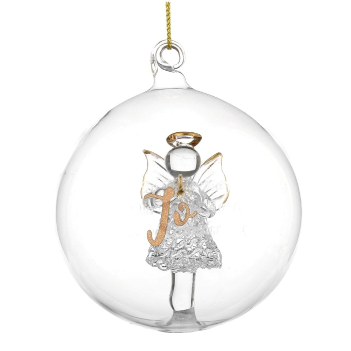 Personalised Gold Glitter Name Only Angel Glass Bauble Jo - Oh My Gift