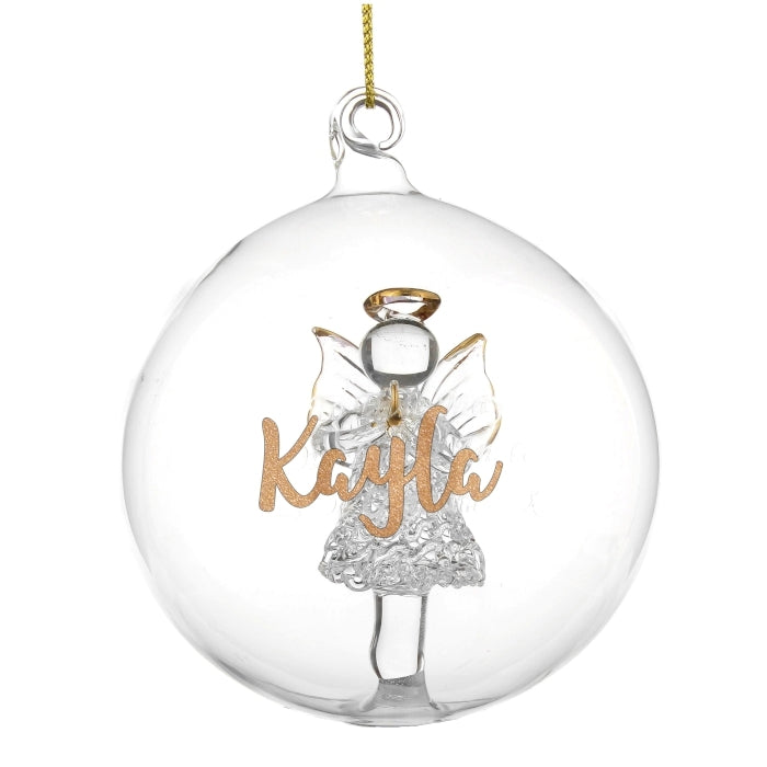 Personalised Gold Glitter Name Only Angel Glass Bauble Kayla - Oh My Gift