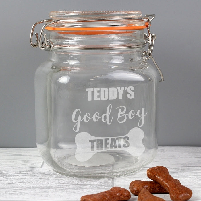 Personalised Pet Name Good Boy Treats Glass Kilner Jar - Oh My Gift