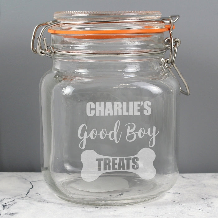 Personalised Good Pet Treats Glass Kilner Jar - Oh My Gift