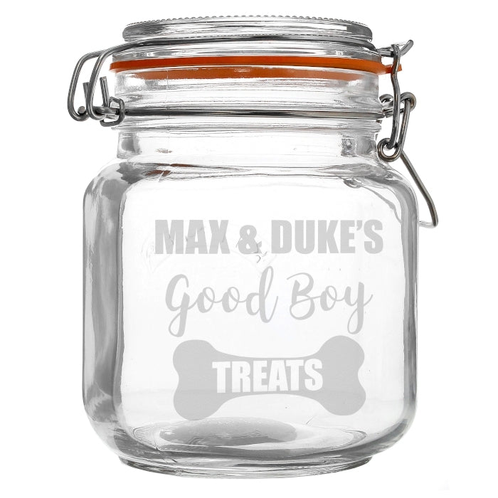 Personalised Good Boy Treats Glass Kilner Jar - Oh My Gift