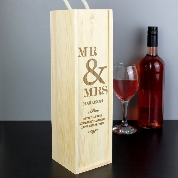 Personalised Couples Bottle Presentation Box with Wine and Glass - Oh My Gift