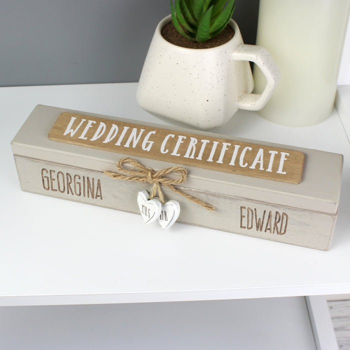 Personalised Wooden Wedding Certificate Holder on shelf - Oh My Gift