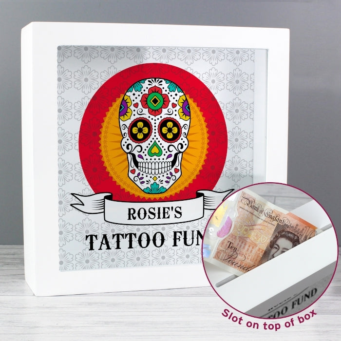 Personalised Sugar Skull Fund and Keepsake Box with money slot - Oh My Gift