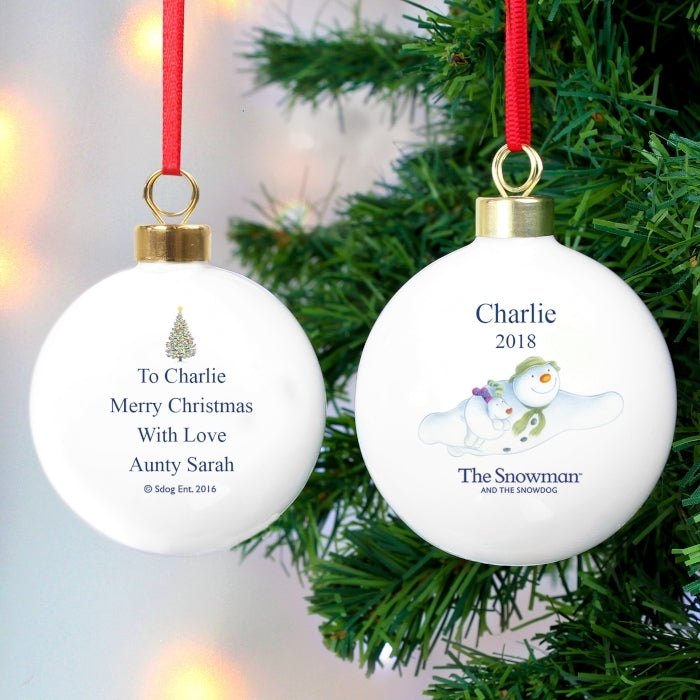 Personalised The Snowman and the Snowdog Flying Baubles - Oh My Gift