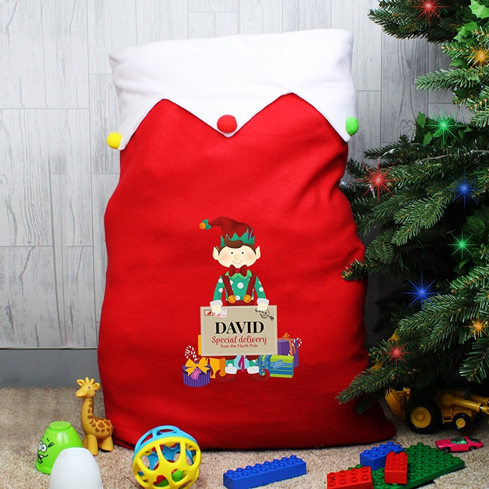 Personalised Elf Luxury Pom Pom Sack By Tree - Oh My Gift