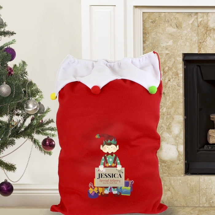 Personalised Elf Luxury Pom Pom Sack by Fireplace - Oh My Gift