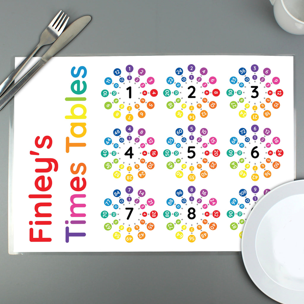Personalised Times Tables Placemat - Oh My Gift
