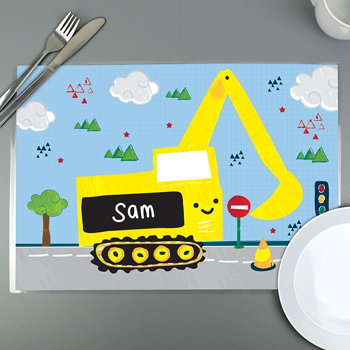 Personalised Digger Placemat - Oh My Gift