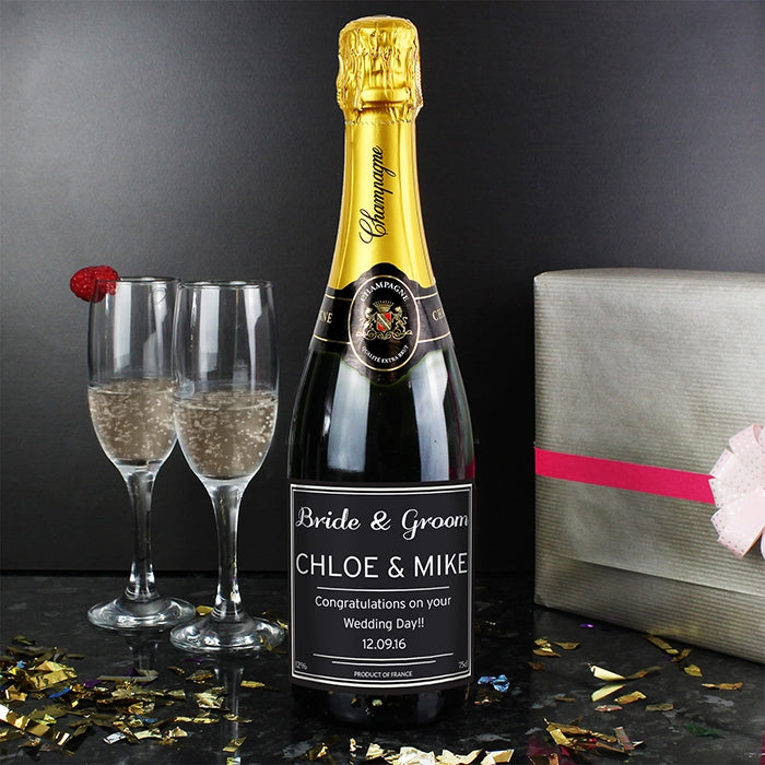 Personalised Classic Champagne with Personalised Bride and Groom Label - Oh My Gift