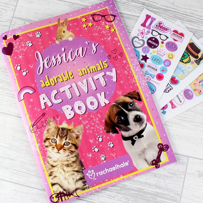 Personalised Rachael Hale Adorable Animals Activity Book With Stickers - Oh My Gift