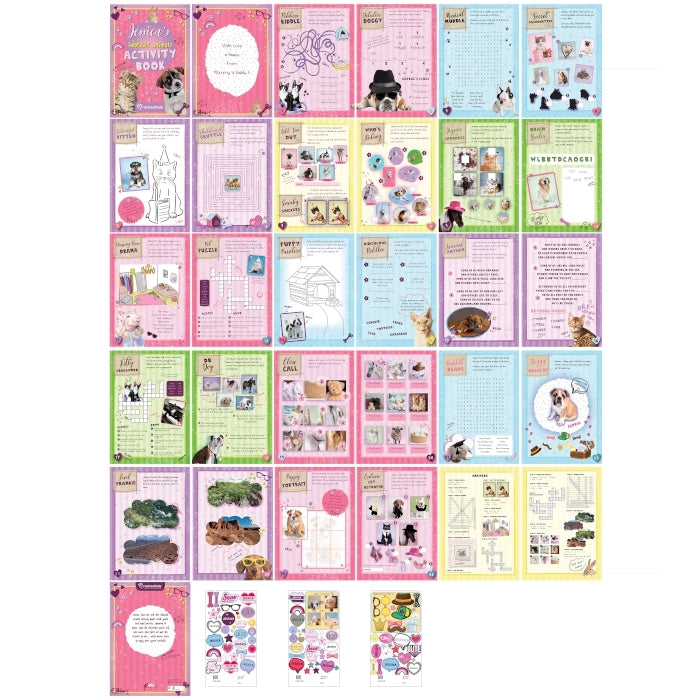 Personalised Adorable Animals Activity Book With Stickers Showing All Pages - Oh My Gift