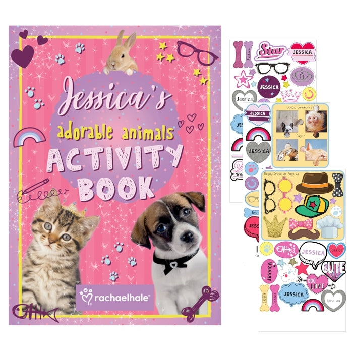 Personalised Adorable Animals Activity Book With Stickers