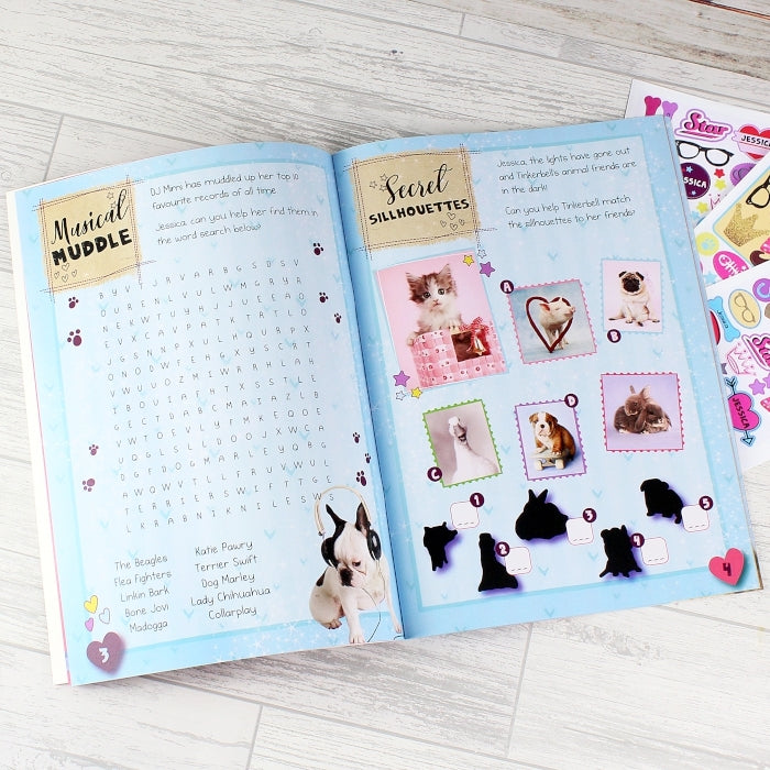 Personalised Adorable Animals Activity Book With Stickers Showing Activities - Oh My Gift