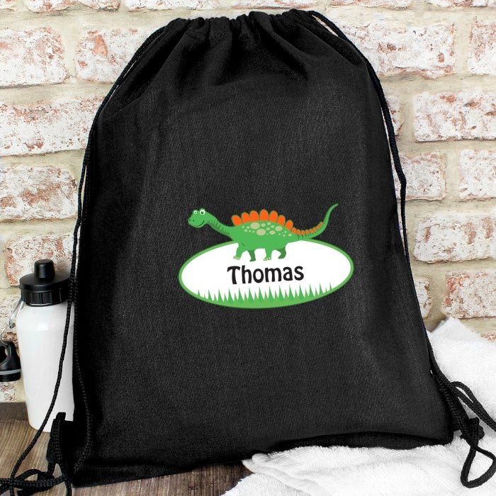 Personalised Dinosaur Black Swim & Kit Bag with name - Oh My Gift