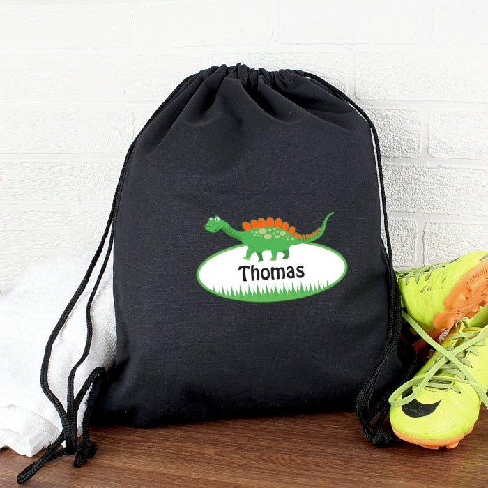 Personalised Dinosaur Black Swim & Kit Bag - Oh My Gift
