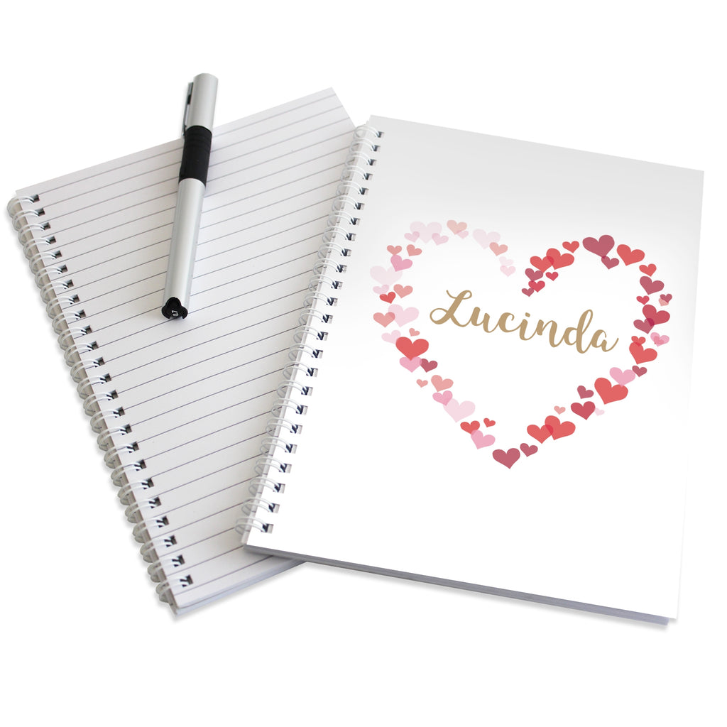 Personalised Confetti Hearts Hardback A5 Notebook