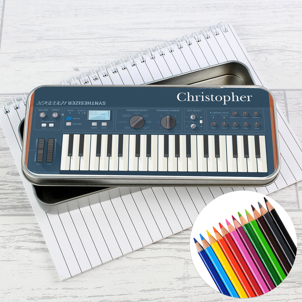 Personalised Keyboard Pencil Tin with Pencil Crayons - Oh My Gift