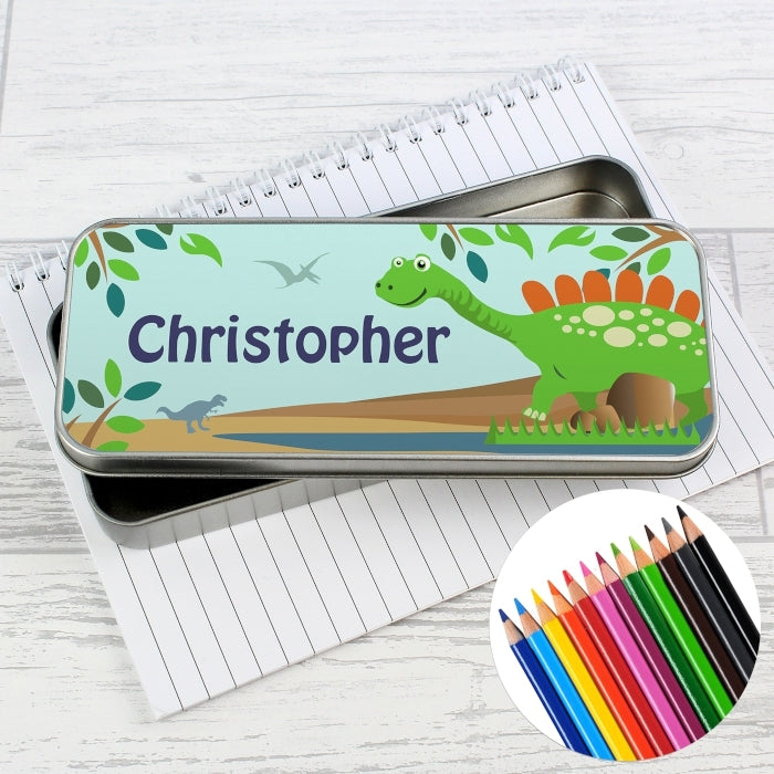 Personalised Dinosaur Pencil Tin with Pencil Crayons - Oh My Gift