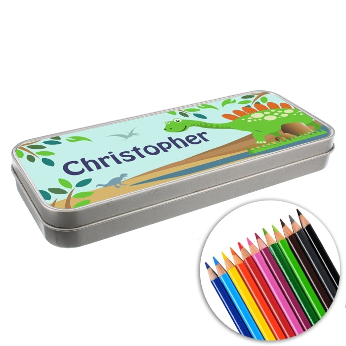 Personalised Dinosaur Pencil Tin with Pencil Crayons Close Up - Oh My Gift