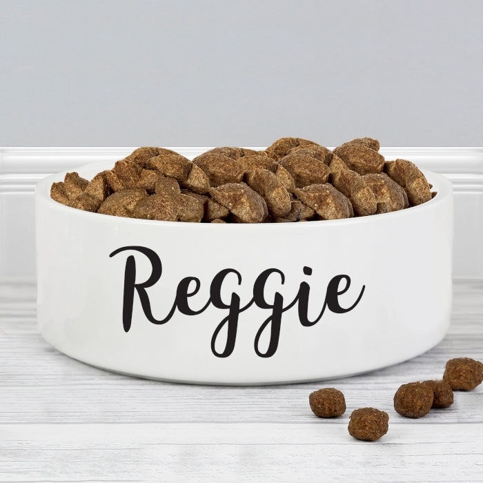 Personalised Reggie 14cm Medium White Pet Bowl - Oh My Gift