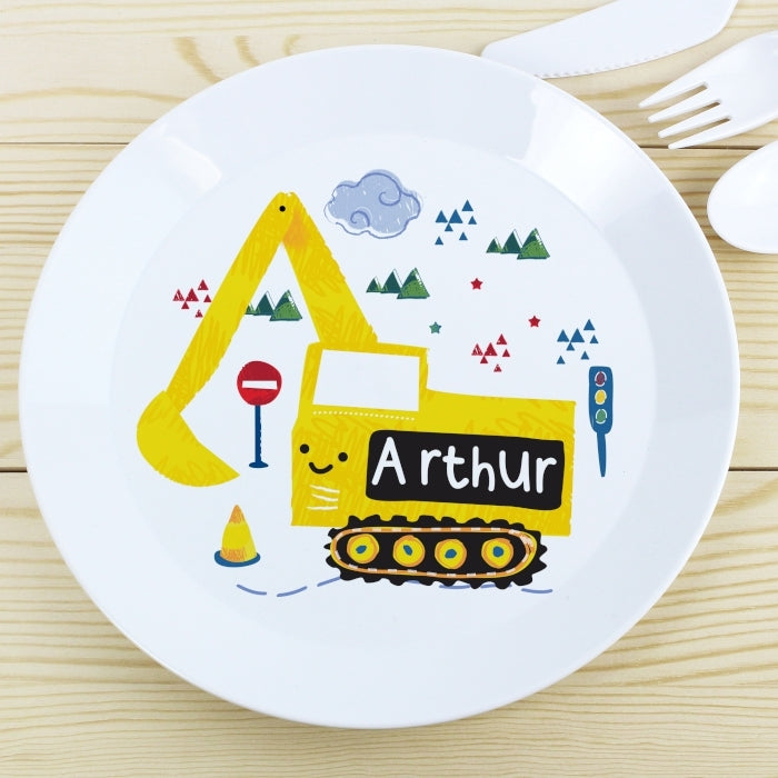 Personalised Digger Plastic Plate - Oh My Gift