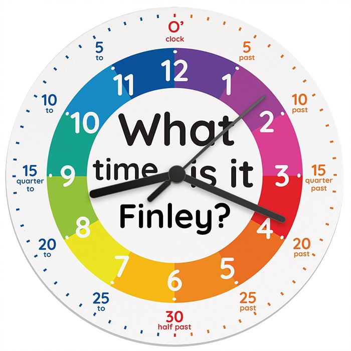 Personalised 'What time is it?' Wooden Clock for Finlay - Oh My Gift