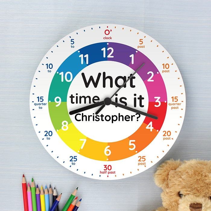 Personalised 'What time is it?' Wooden Clock with Teddy - Oh My Gift