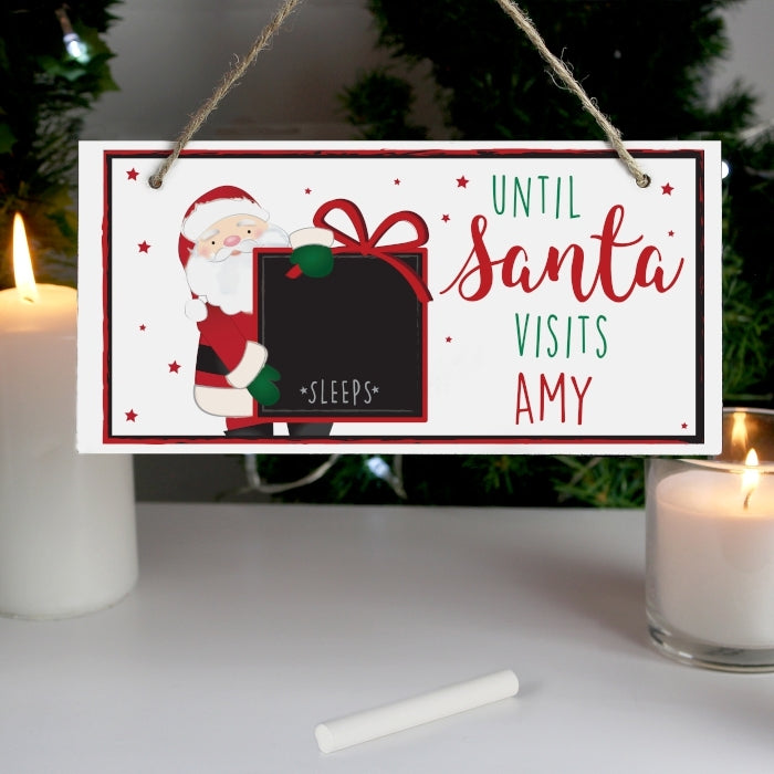 Personalised Santa Christmas Chalk Countdown Wooden Sign with Candle - Oh My Gift