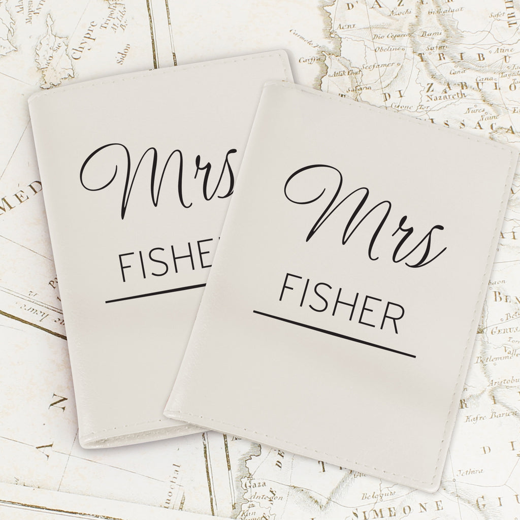 Personalised Couples Cream Passport Holders - Oh My Gift