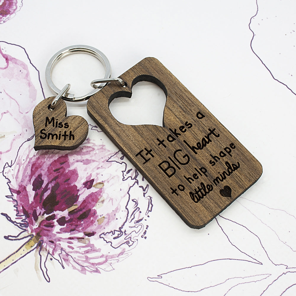 Personalised Teachers Keyring Showing Heart - Oh My Gift