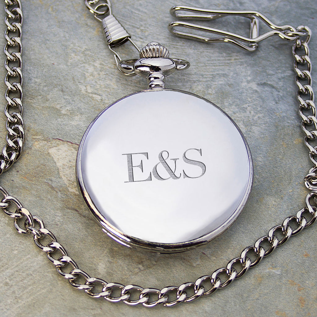 Silver Plated Pocket Watch Personalised with Initials on front - Oh My Gift
