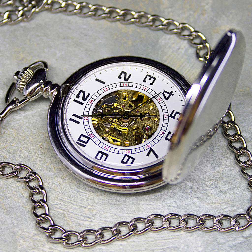 Silver Plated Pocket Watch Personalised with Initials and Enscription - Oh My Gift