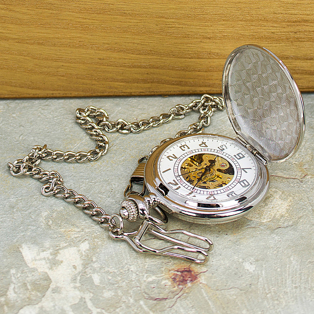 Silver Plated Pocket Watch Personalised Showing Open Watch and Chain - Oh My Gift