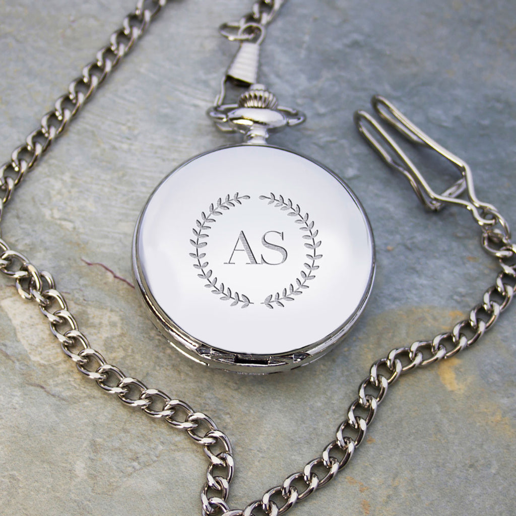 Silver Plated Pocket Watch Personalised with Engraving - Oh My Gift