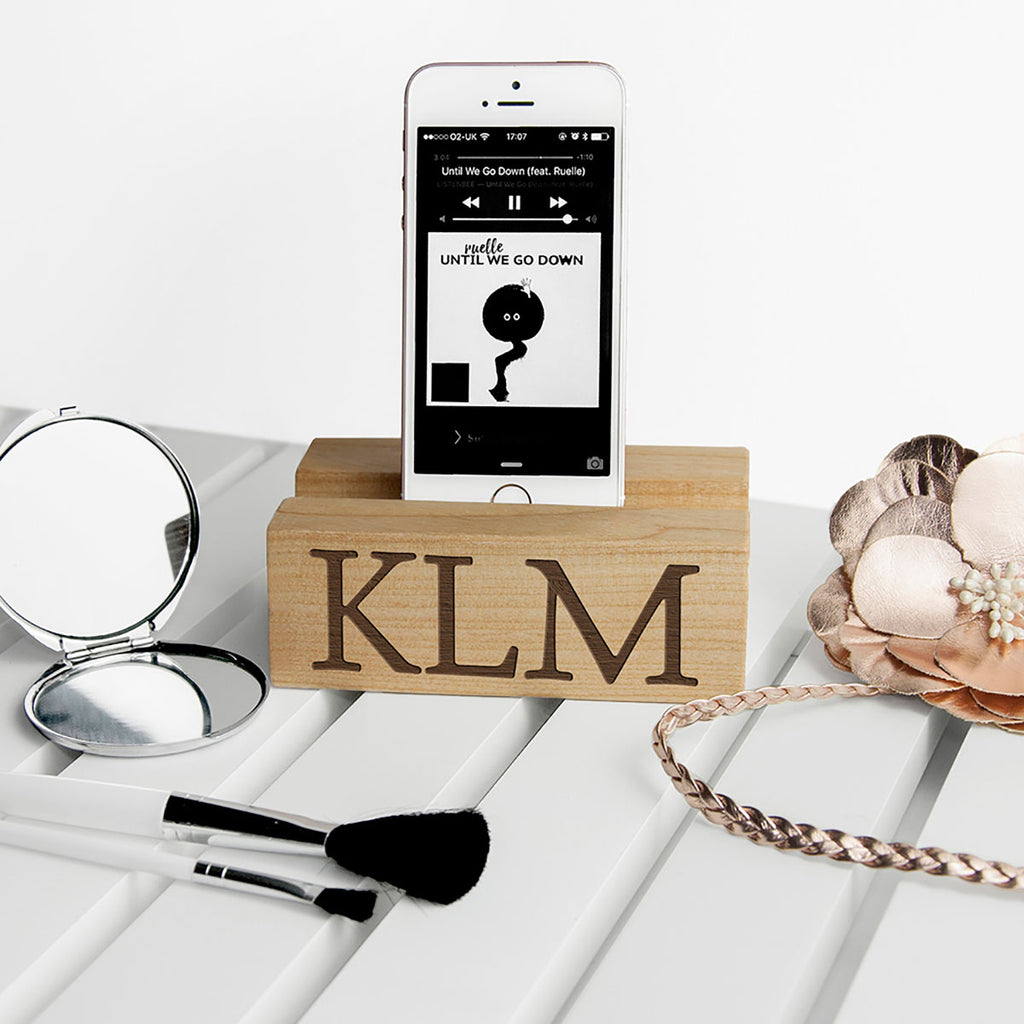 Wooden Phone Stand Personalised with your Initials - Oh My Gift