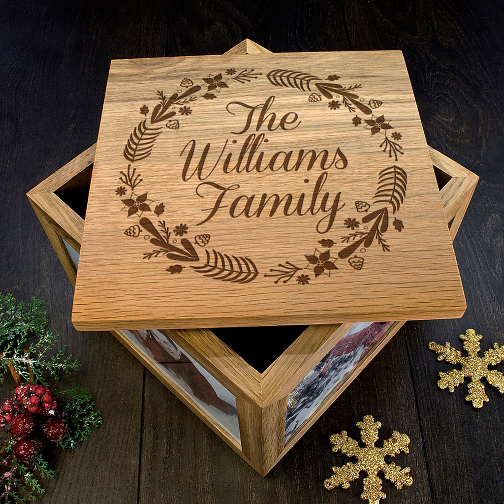 Personalised Family's Christmas Memory Box Showing Lid Detail - Oh My Gift