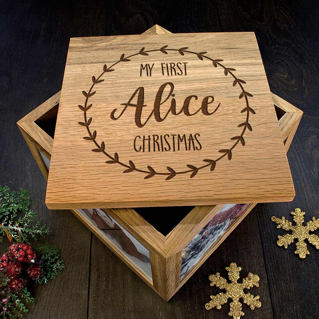 My First Christmas Memory Box Personalised with Baby's Name Showing Lid Detail - Oh My Gift