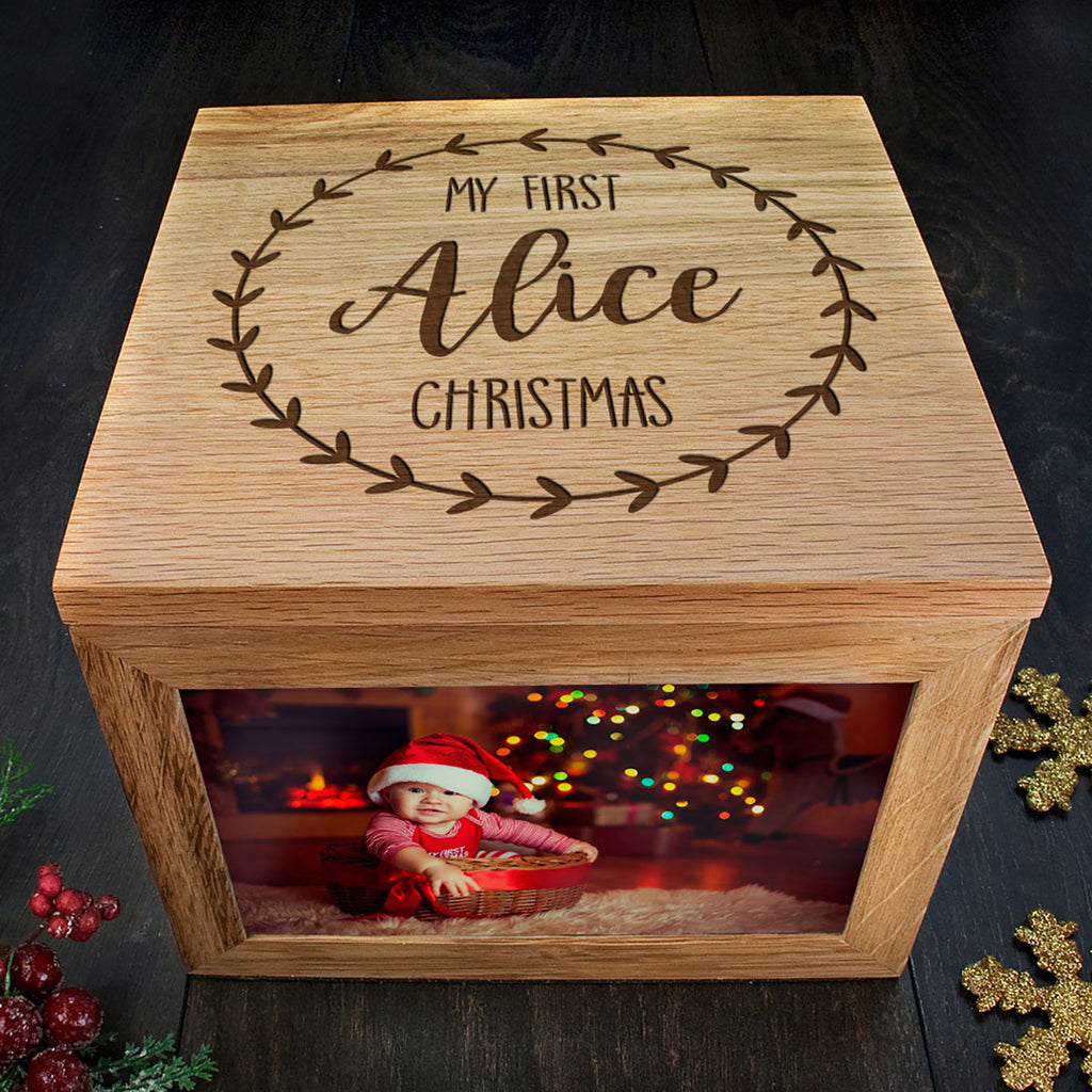 My First Christmas Memory Box Personalised with Baby's Name for Photos and Keepsakes - Oh My Gift