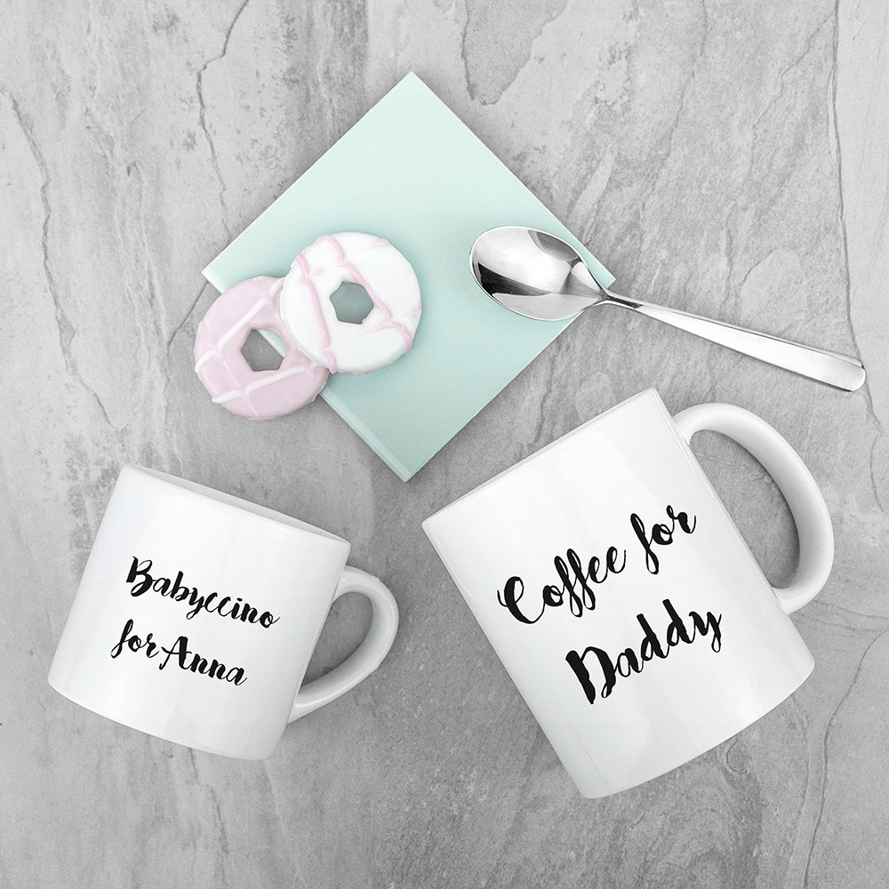 Personalised Daddy & Me Coffee and Babychino Mugs - Oh My Gift