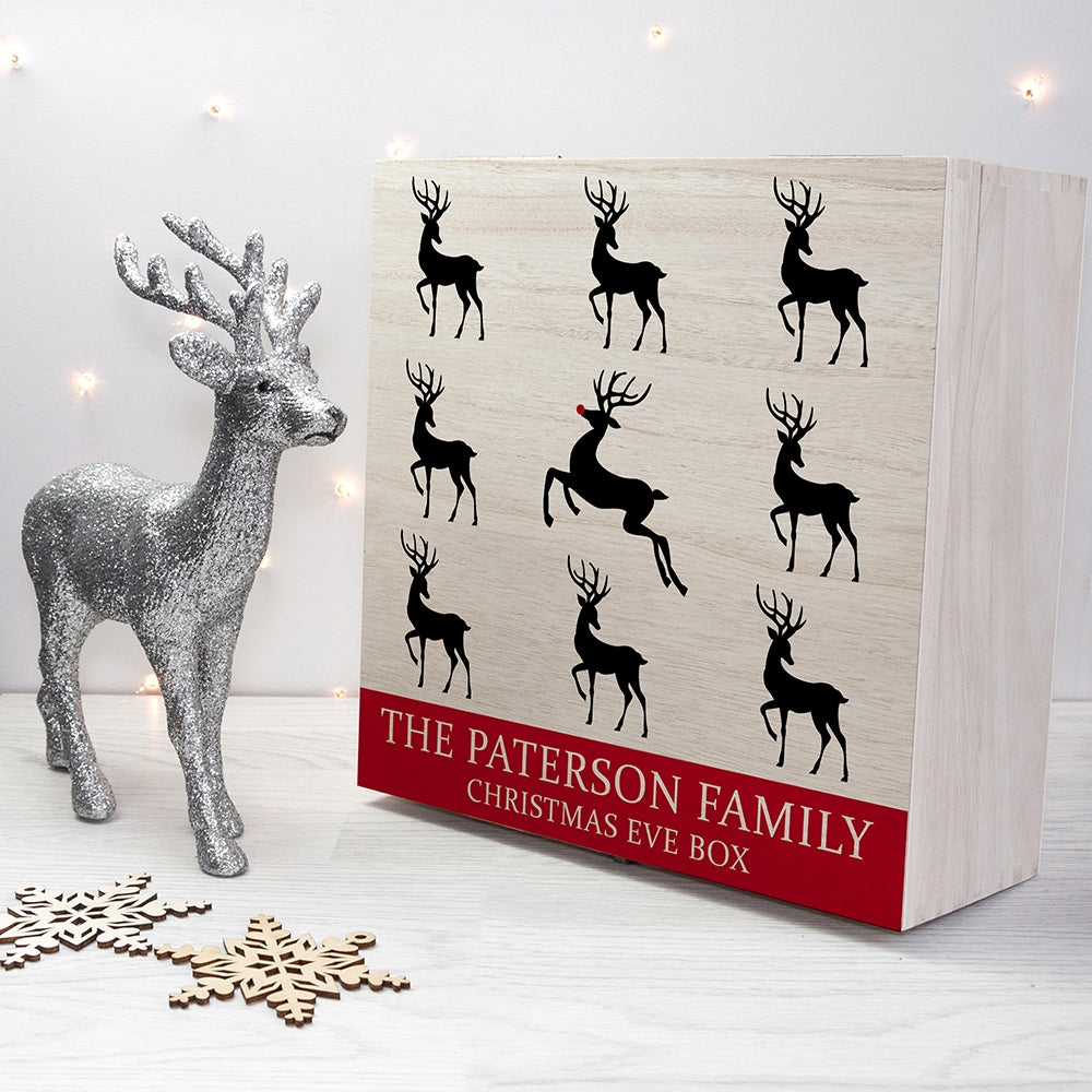 Personalised Reindeer Family Christmas Eve Box with ornament - Oh My Gift