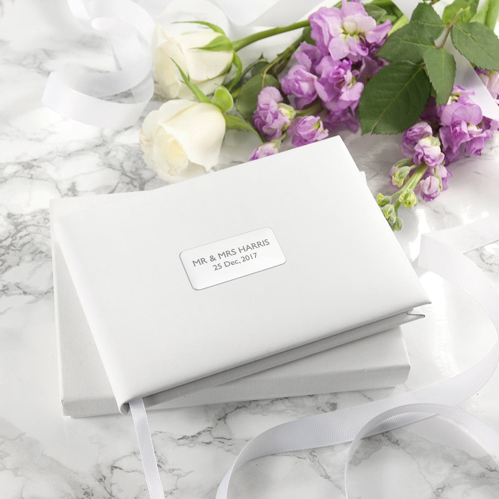 White Leather Wedding Guest Book - Perfect Gift - Oh My Gift