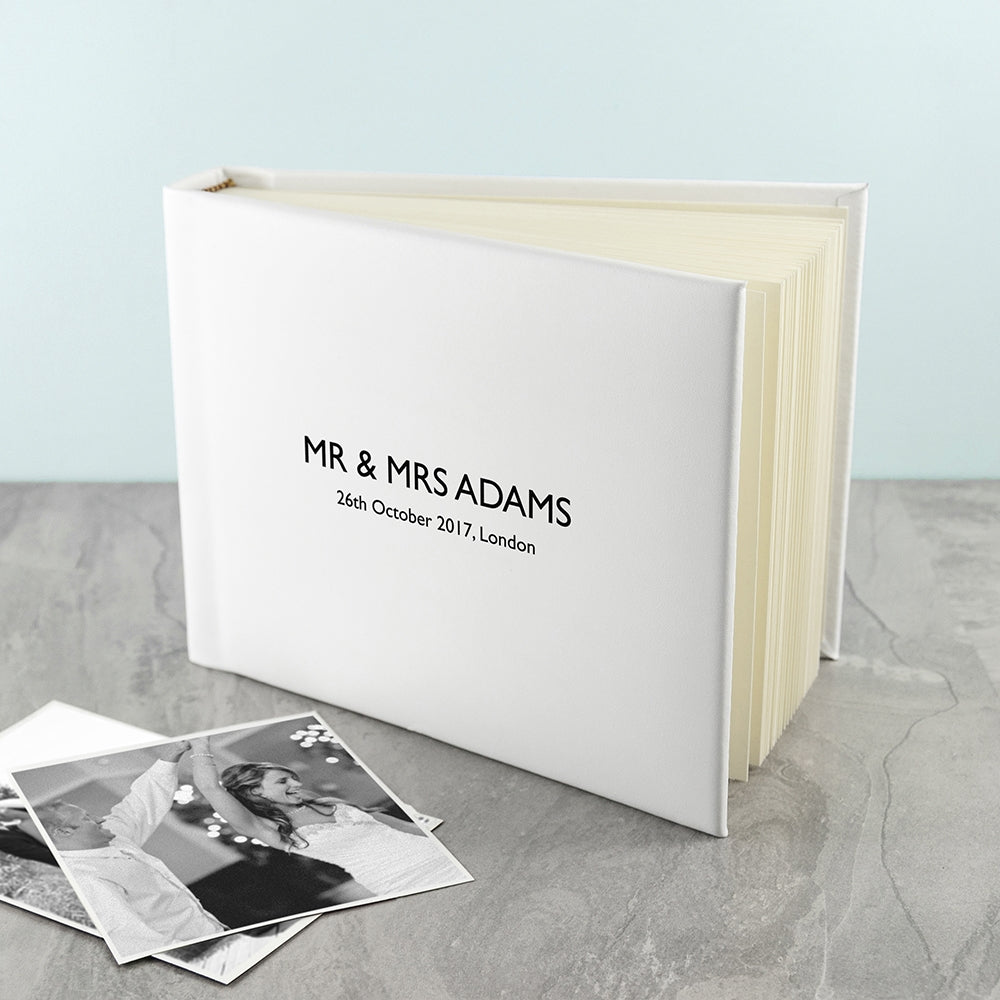 Engraved White Leather Photo Album - Ideal Wedding - Gift Oh My Gift