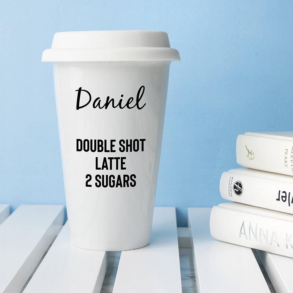 Personalised Name and Order Travel Mug - Gift for Coffee Lovers - Oh My Gift