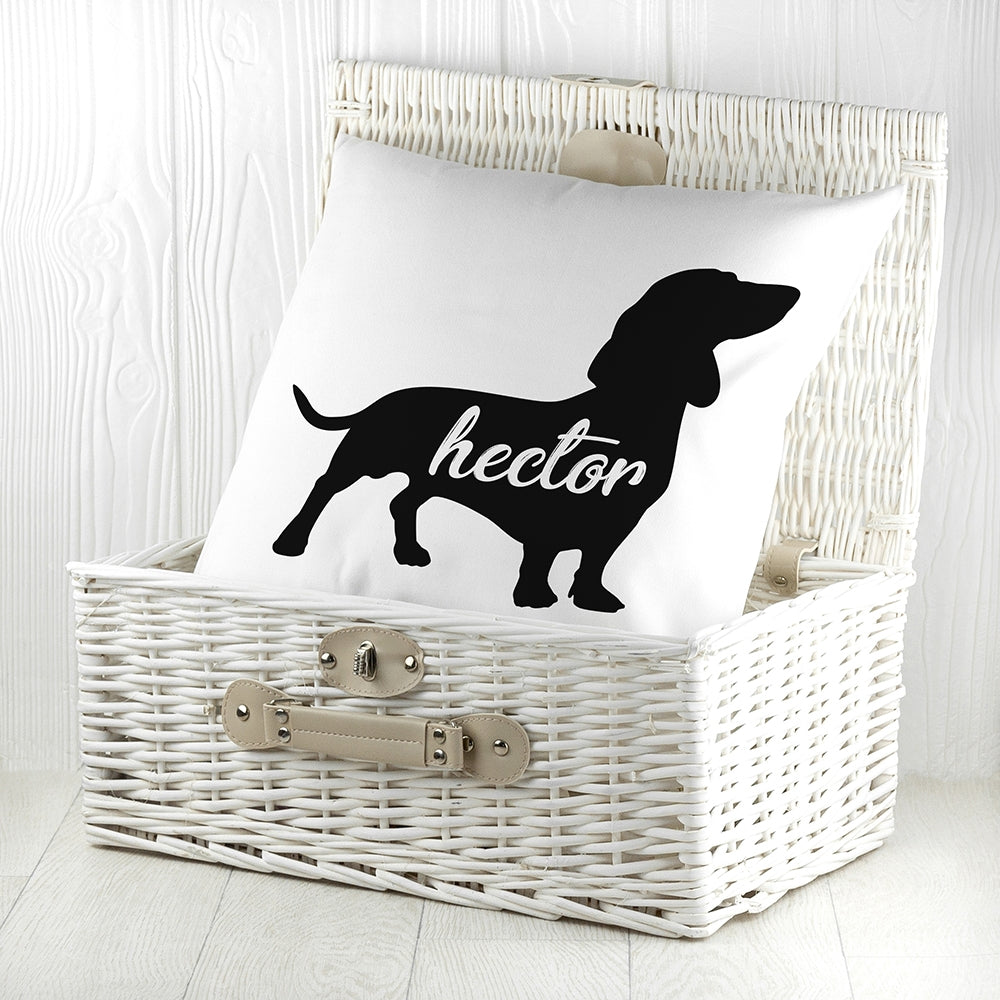 Personalised Daschund Silhouette Cushion Cover - Oh My Gift