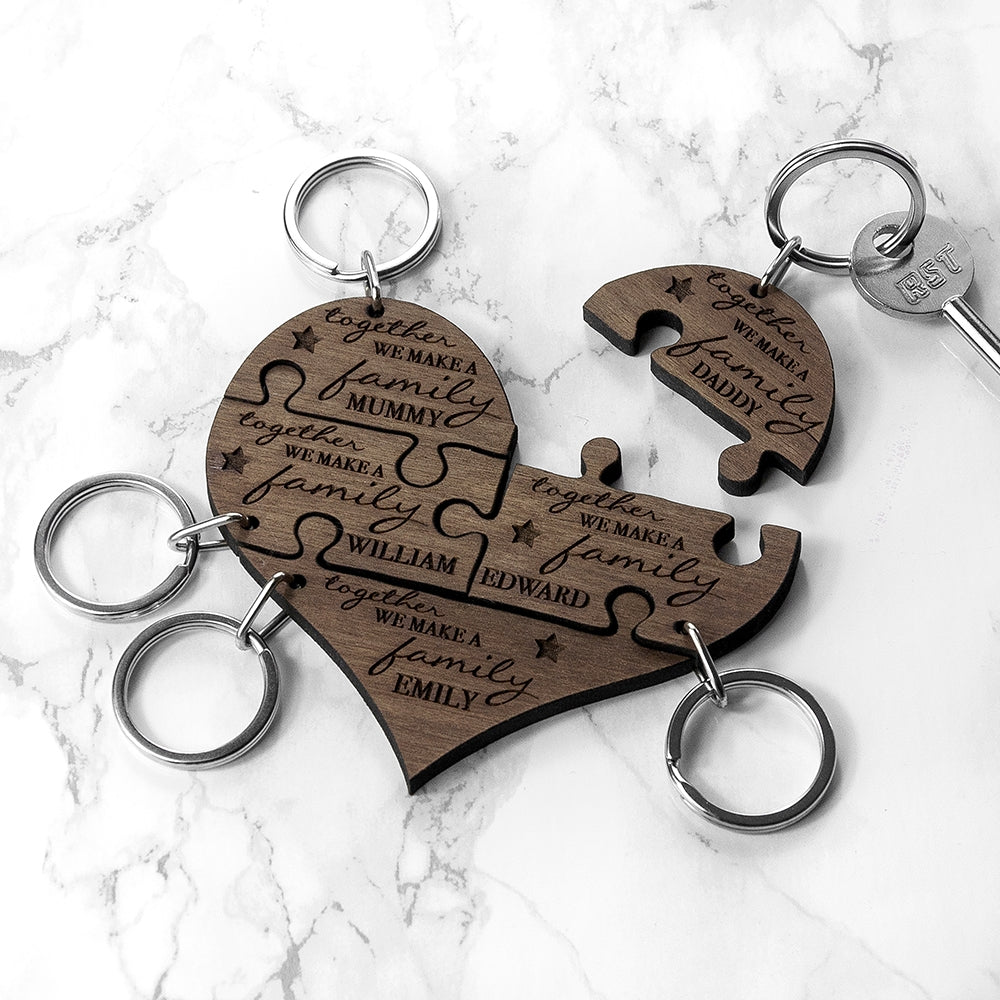 Personalised Family Together 5 Piece Keyring - Oh My Gift