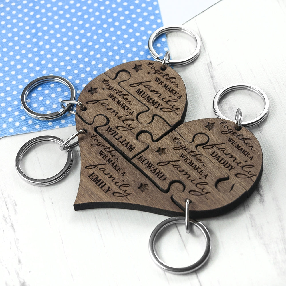 Personalised Family Together 5 Piece Keyring Top View - Oh My Gift