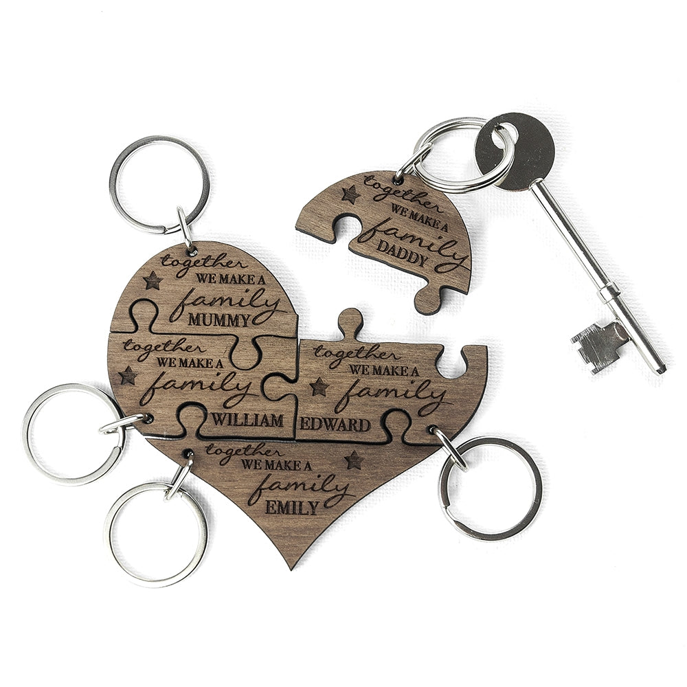 Personalised Family Together 5 Piece Keyring with single key - Oh My Gift