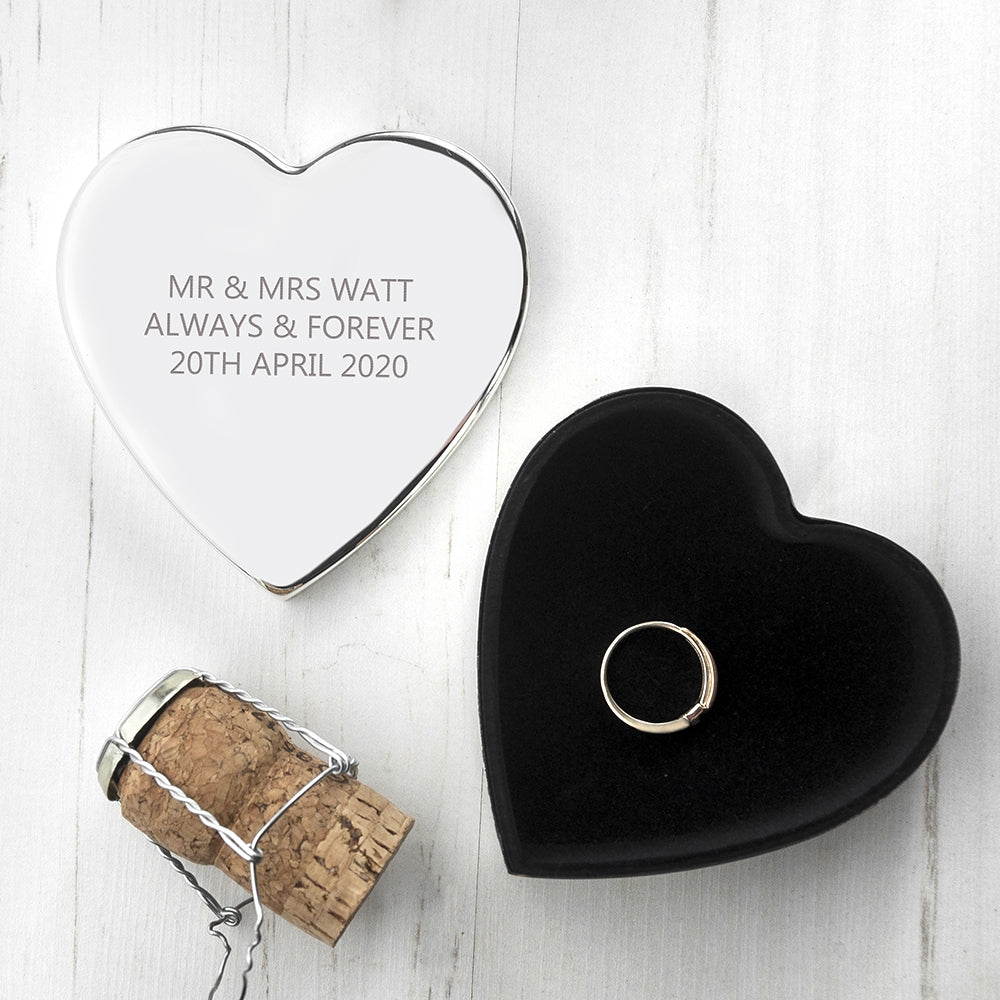 Personalised Classic Silver Heart Trinket Box with Champagne Cork - Oh My Gift