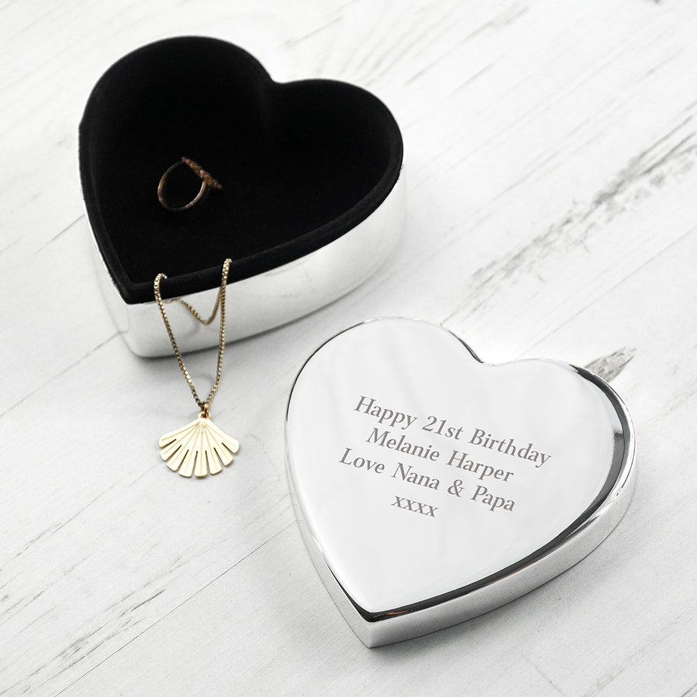 Personalised Classic Silver Heart Trinket Box - Oh My Gift